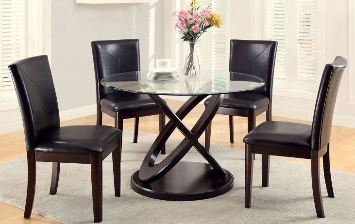 Atenna I Dark Walnut Glass Top Round Pedestal Dining Room Set