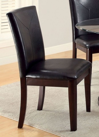 Atenna I Dark Walnut Leatherette Parson Side Chair Set of 2
