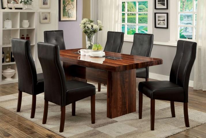 Bonneville i brown cherry rectangular trestle dining room for Trestle dining room sets