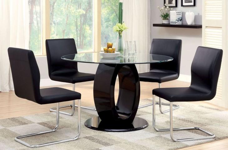 Lodia I Black Glass Top Round Pedestal Dining Room Set