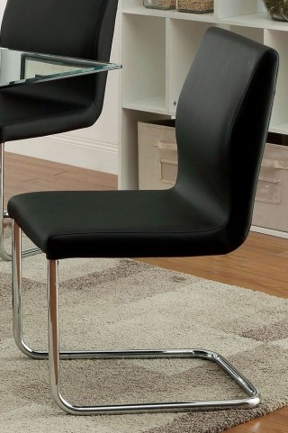 Lodia I Black Leatherette Side Chair Set of 2
