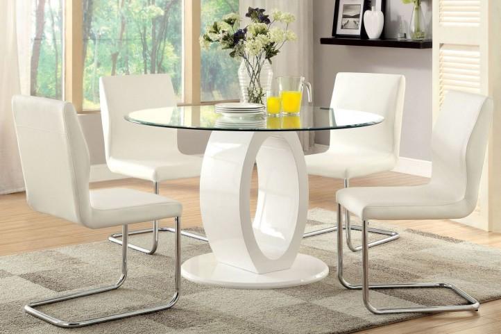 Lodia I White Glass Top Round Pedestal Dining Room Set