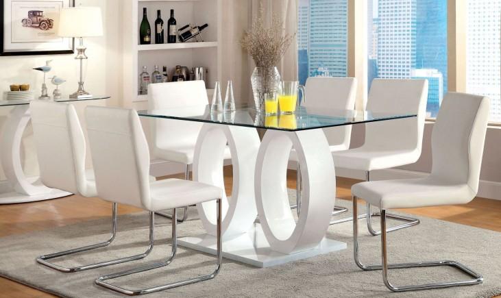Lodia I White Glass Top Rectangular Pedestal Dining Room Set