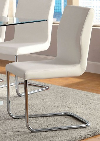 Lodia I White Leatherette Side Chair Set of 2