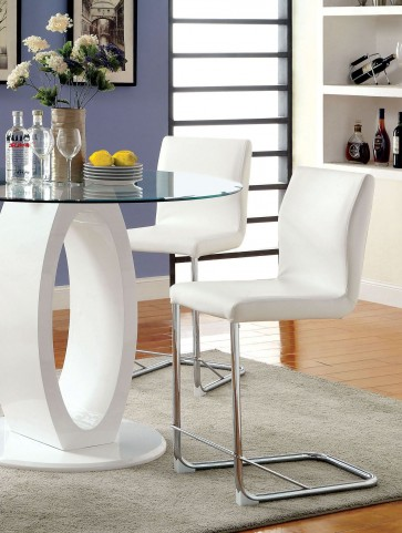 Lodia II White Leatherette Counter Height Chair