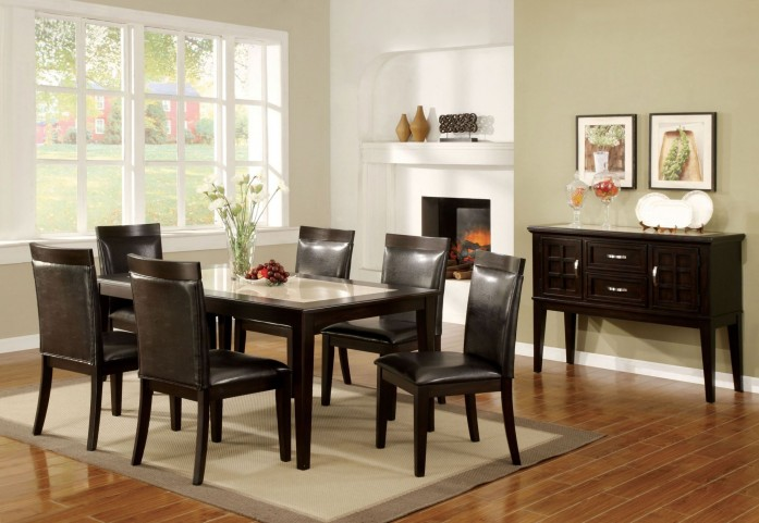 Evious I Espresso Faux Marble-Insert Rectangular Leg Dining Room Set