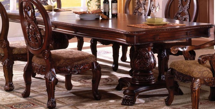 tuscany i antique cherry rectangle extending dbl pedestal dining table from furniture of america. Black Bedroom Furniture Sets. Home Design Ideas