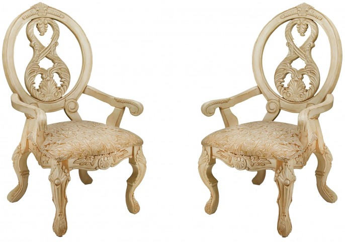 Tuscany III Antique White Arm Chair Set of 2