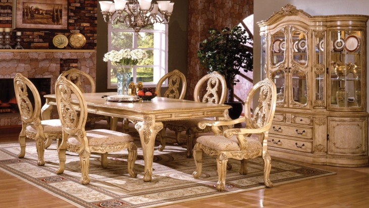 Tuscany III Antique White Rectangular Leg Dining Room Set