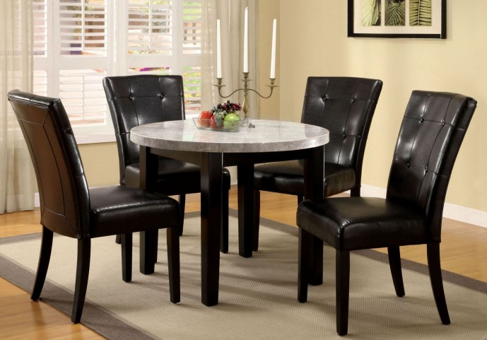 Marion I Marble Top Round Dining Room Set