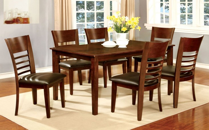 Hillsview I Brown Cherry Rectangular Leg Dining Room Set