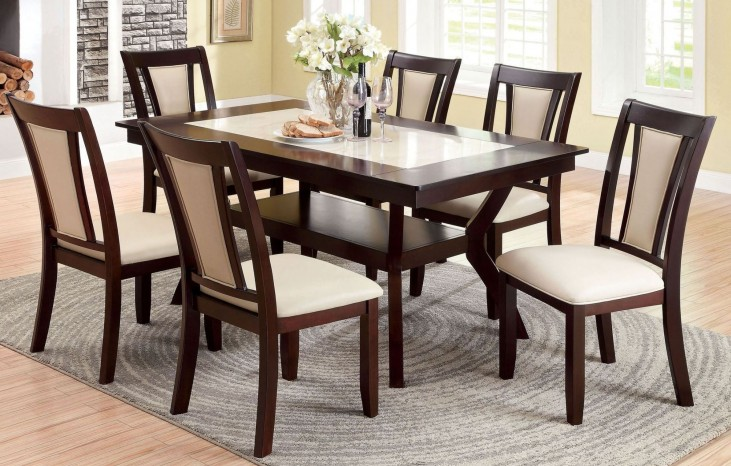 Brent Dark Cherry Faux Marble Insert Rectangular Trestle Dining Room Set