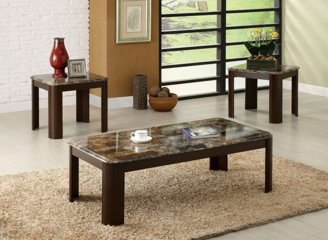 Carson Faux Marble 3 Piece Occasional Table Set