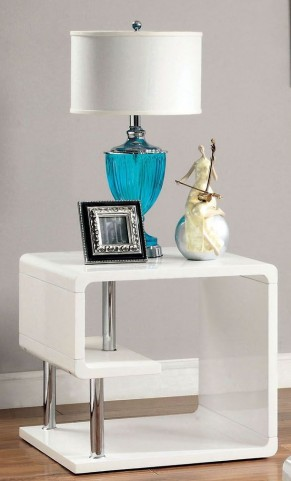 Ninove I White High Gloss End Table