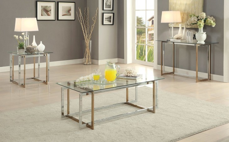 Skye Champagne and Chrome Occasional Table Set