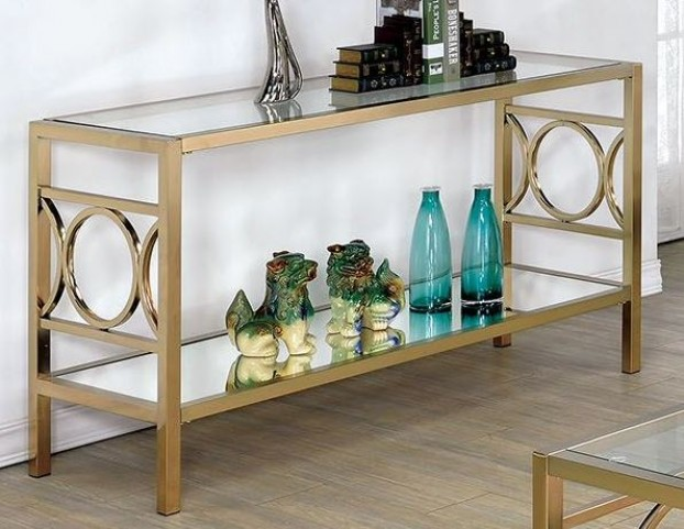 Rylee Champagne Sofa Table