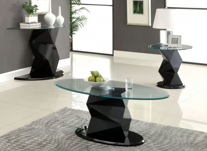 Halawa V Black Oval Glass Occasional Table Set