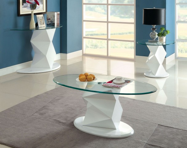 Halawa V White Occasional Table Set