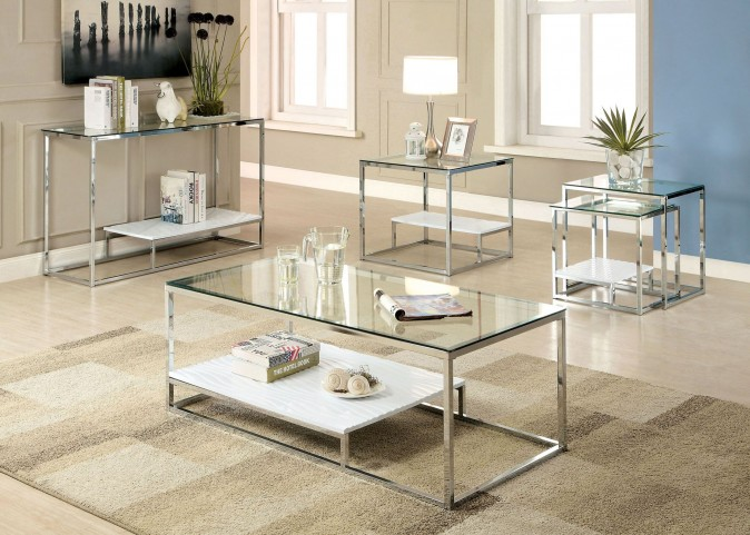 Vendi White Occasional Table Set