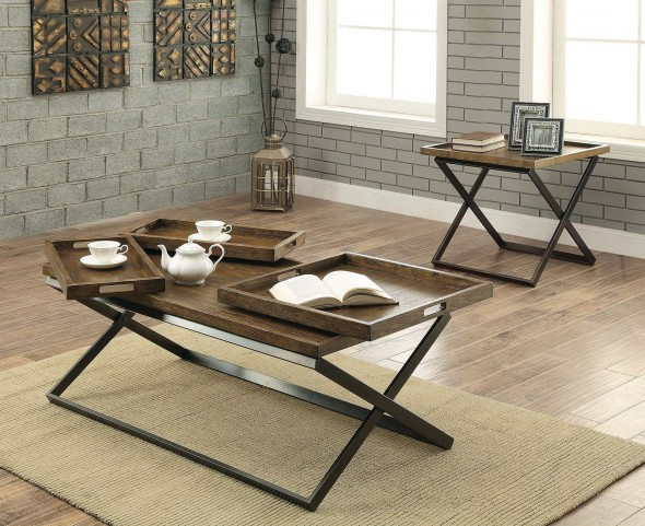 Mina Medium Weathered Oak Occasional Table Set