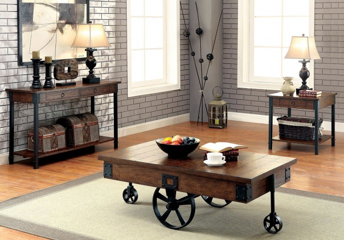 Paige Medium Weathered Oak Occasional Table Set