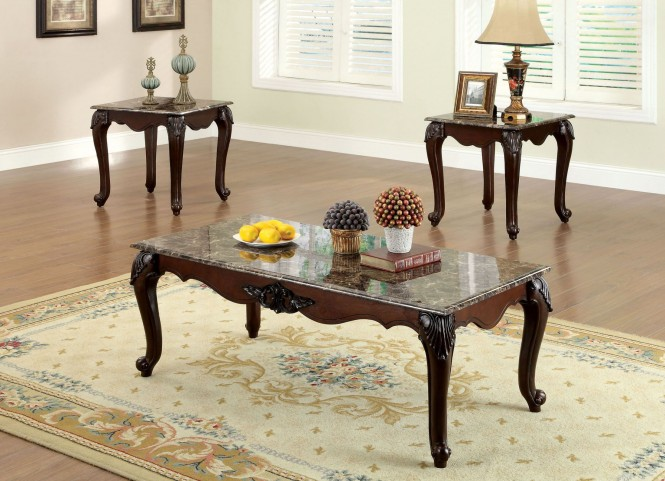 ColChester Dark Cherry 3 Piece Occasional Table Set