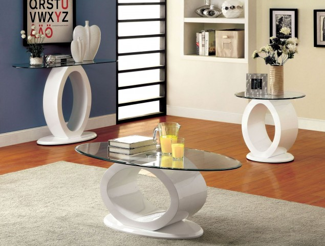 Lodia III White Occasional Table Set