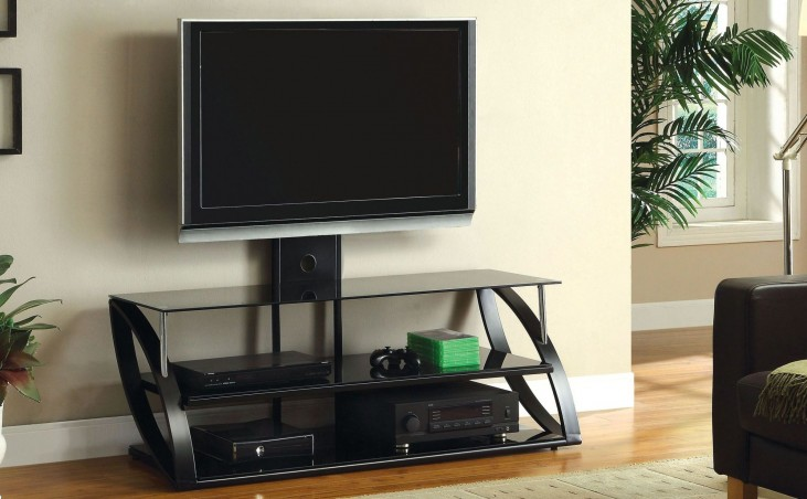 "Adella Black 54"" Glass Top TV Console"
