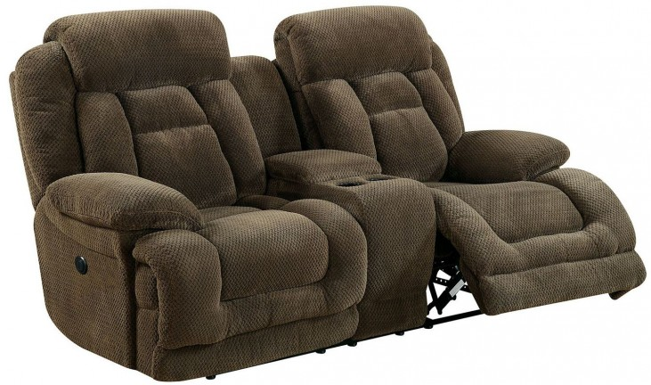Grenville Brown Reclining Console Loveseat