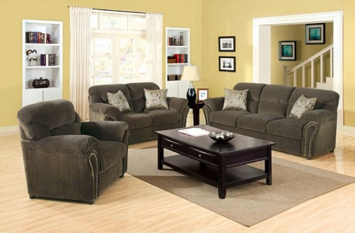 New Sarum Olive Gray Living Room Set