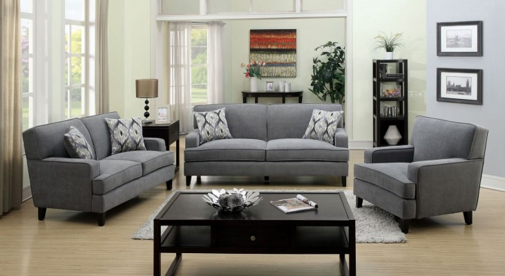 Francis Gray Fabric Living Room Set