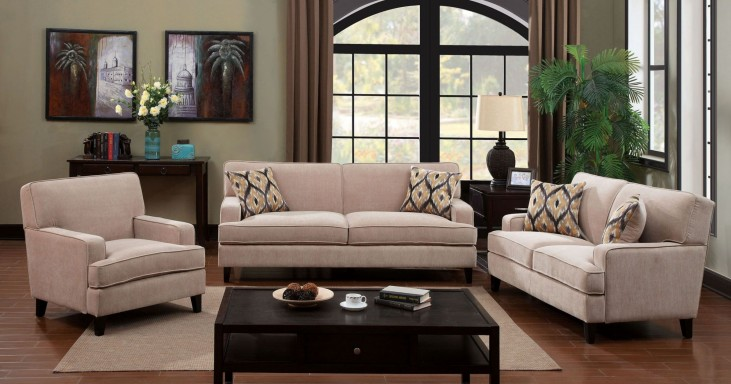 Francis Ivory Fabric Living Room Set