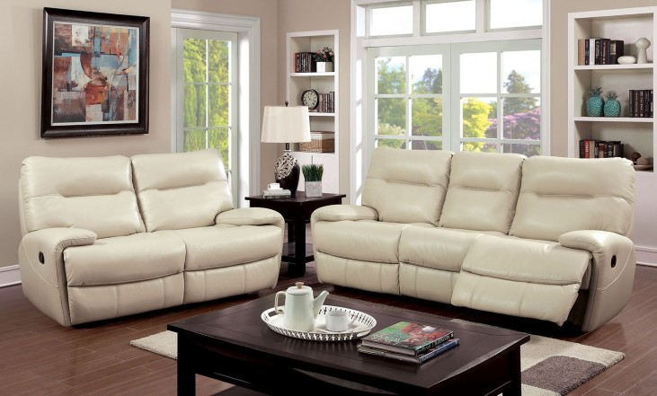 Binford Ivory Two Reclining Living Room Set