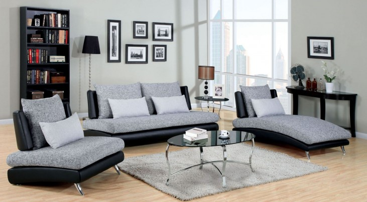 Saillon Fabric and Leatherette Living Room Set