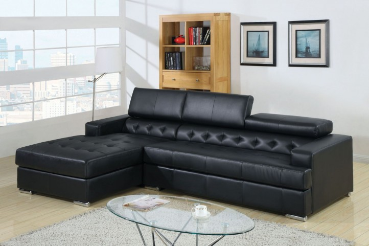 CM6122BK Floria Black Bonded Leather Match Sectional
