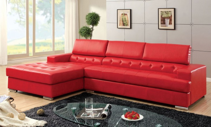 Floria Red Bonded Leather Match Sectional