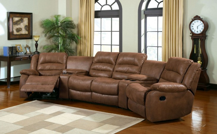 Manchester Brown Home Theatre Sectional With 2 Recliners