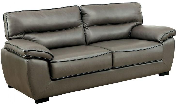 Lennox Gray Shined Faux Leather Sofa