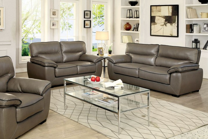 Lennox Gray Shined Faux Leather Living Room Set