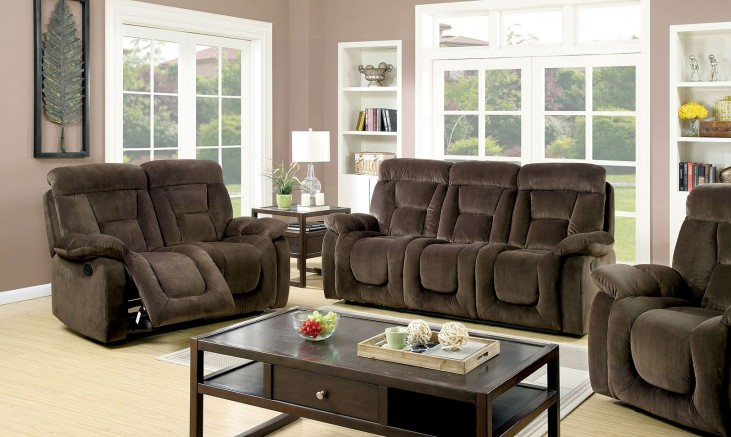 Bloomington Brown Reclining Living Room Set
