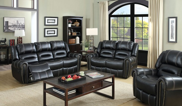 Frederick Black Power Reclining Living Room Set