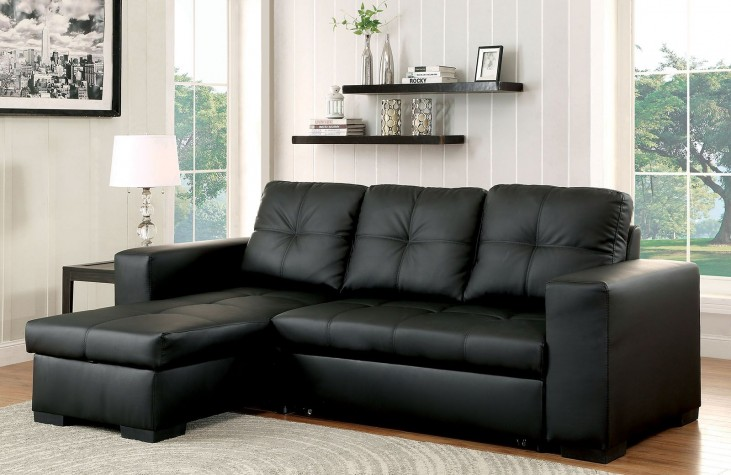 Denton Black Bonded Leather Match Sectional