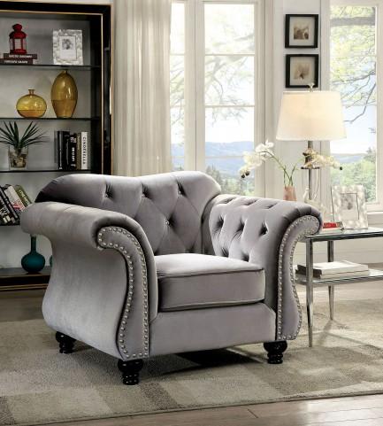 Jolanda Grey Flannelette Fabric Chair