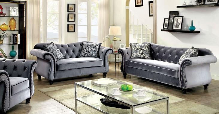 Jolanda Grey Flannelette Fabric Living Room Set