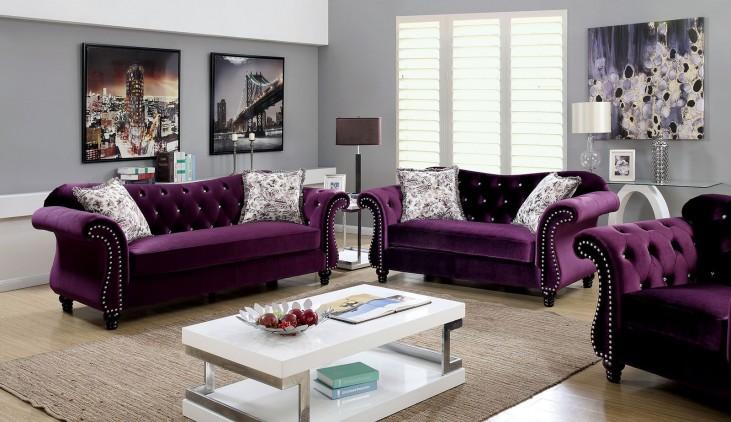 Jolanda Purple Flannelette Fabric Living Room Set