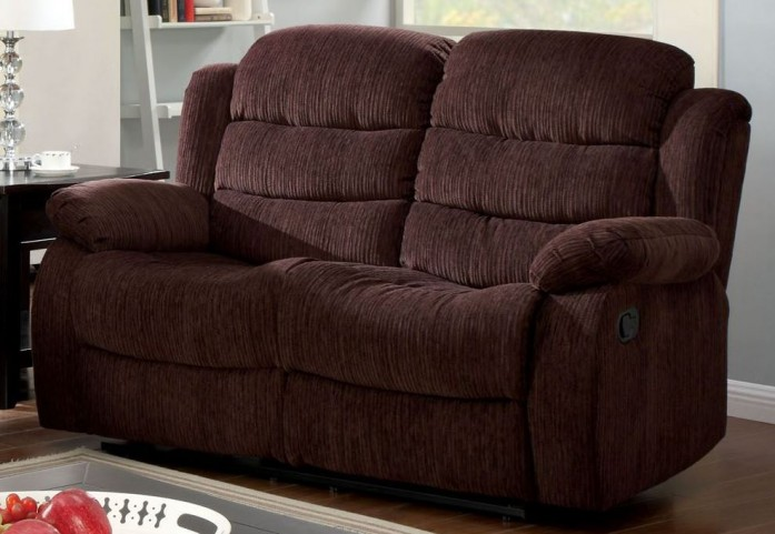 Millville Dark Brown Chenille Reclining Loveseat