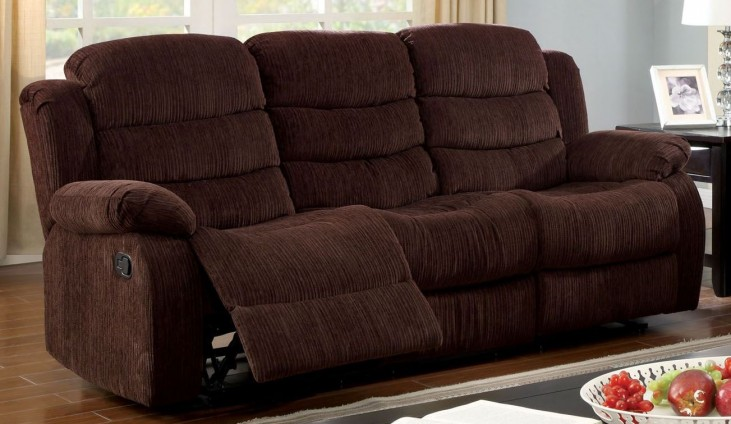 Millville Dark Brown Chenille Reclining Sofa