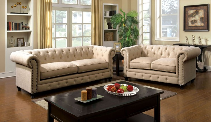 Stanford Ivory Fabric Living Room Set