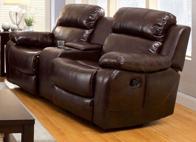 Hughes Dark Brown Dropdown Table Reclining Loveseat