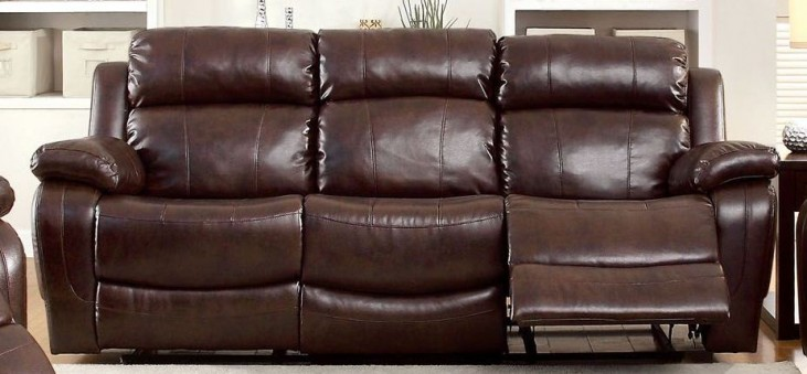 Hughes Dark Brown Dropdown Table Reclining Sofa